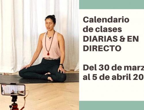 Del 30 de marzo al 5 de abril: calendario de clases de yoga en directo