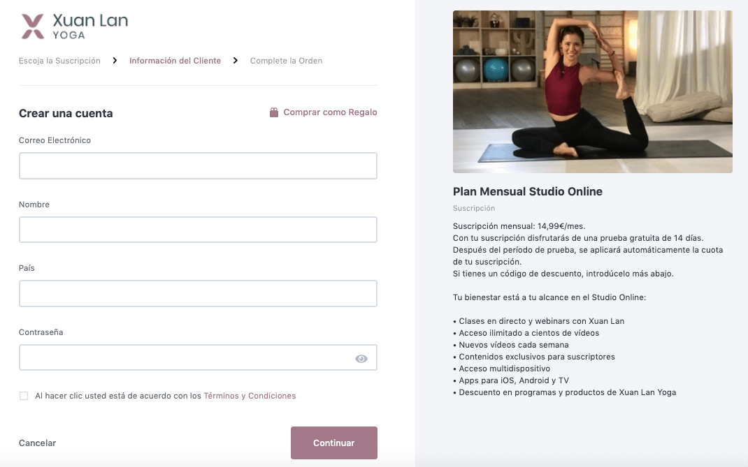 Suscripción Studio online de Xuan Lan Yoga