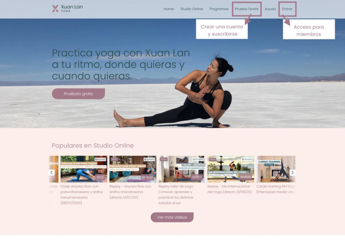 suscribirse al Studio Online de Xuan Lan Yoga