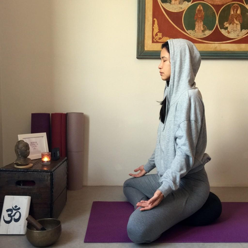 postura de meditación