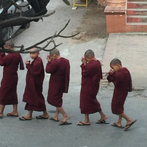 Novicios monjes yendo a su meditación